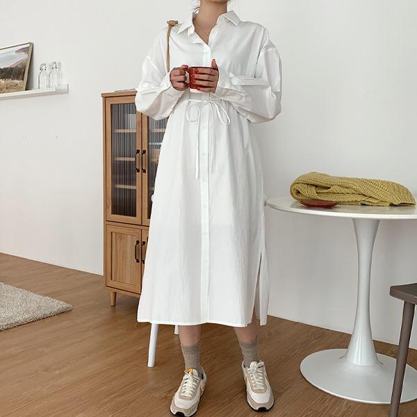 落肩袖开衩抽绳长款衬衫裙