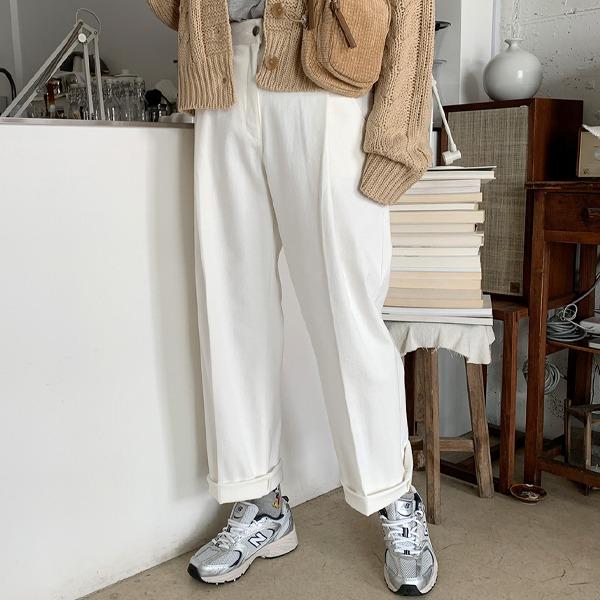 压褶中线插袋阔腿裤