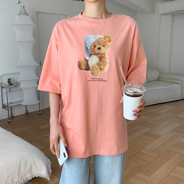 小熊图案半袖中长T恤