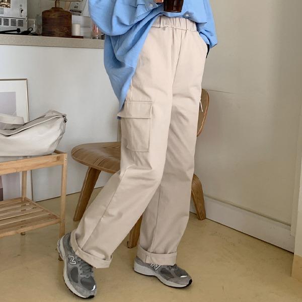 松紧腰高腰工装式直筒休闲裤