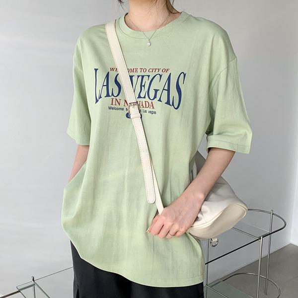 落肩半袖字母中长款T恤