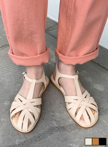编织感镂空鞋面针扣踝带平底凉鞋