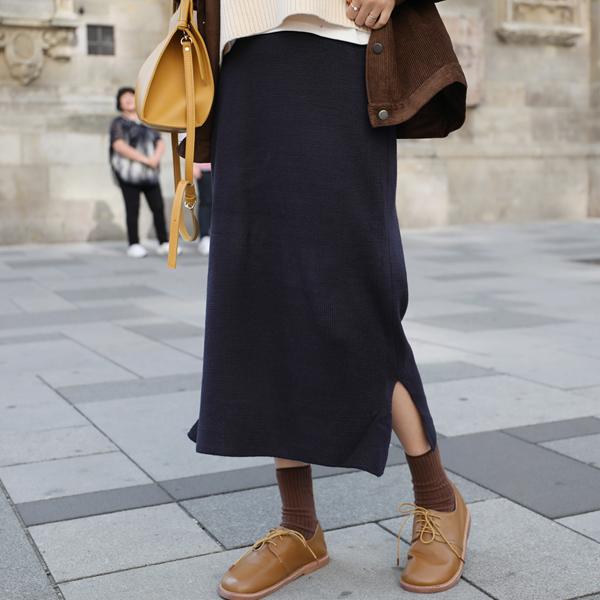優雅垂墜開衩襬針織長裙