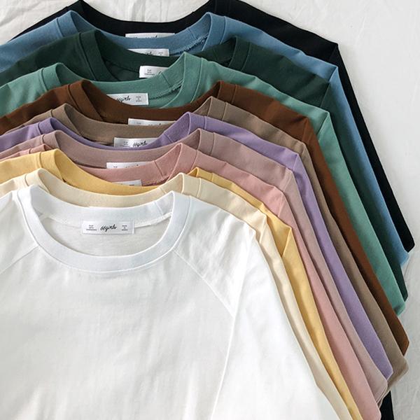 拉克蘭袖純色圓領寬鬆T恤