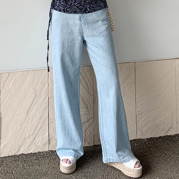 魅力刷色高腰落地牛仔寬褲