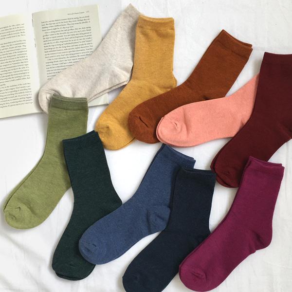 彈力高棉量多色系中長襪