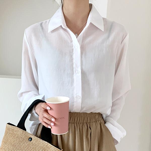 柔膚質感袖釦單色透膚襯衫