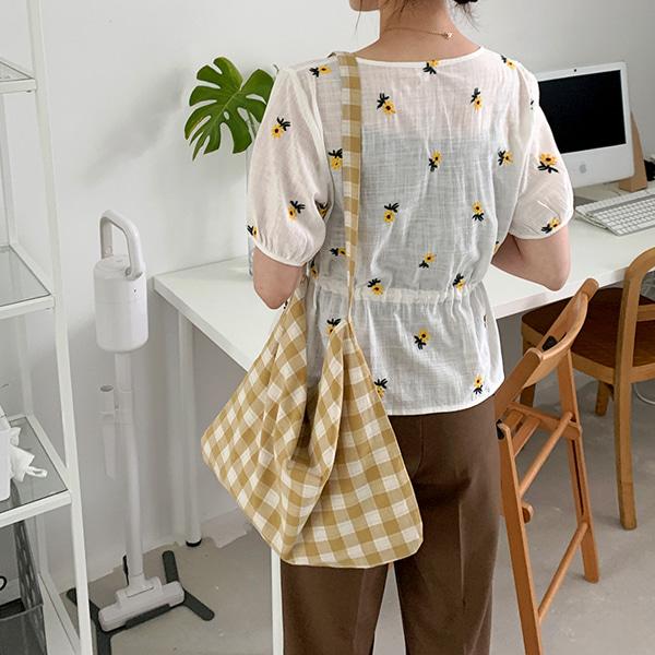 時尚紋路鈕釦棉麻環保袋