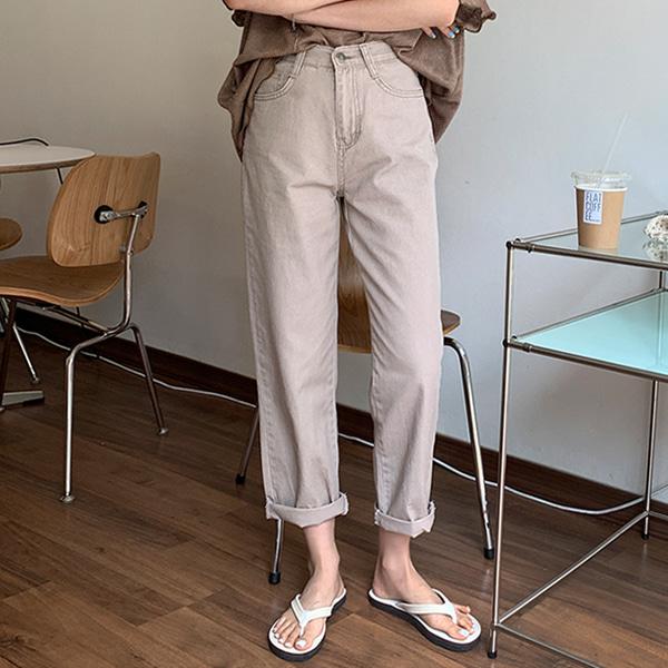 水洗純棉輕薄高腰直筒褲