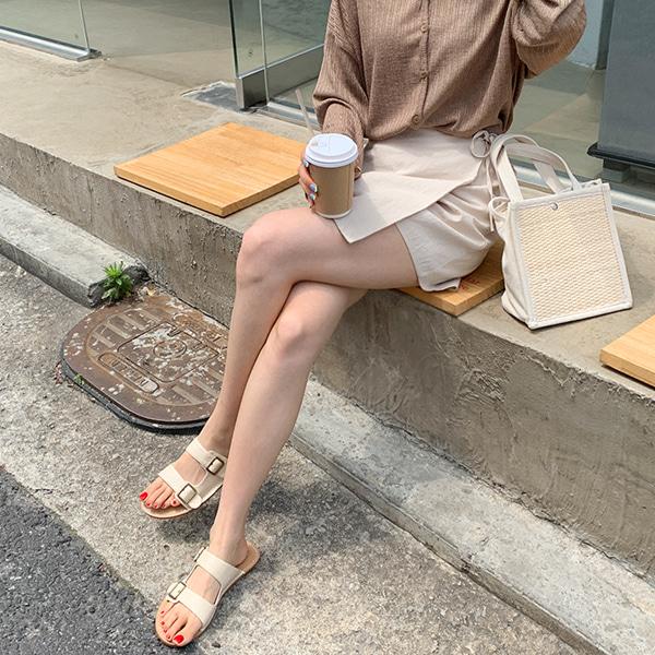 綁帶層疊襬後鬆緊純色褲裙