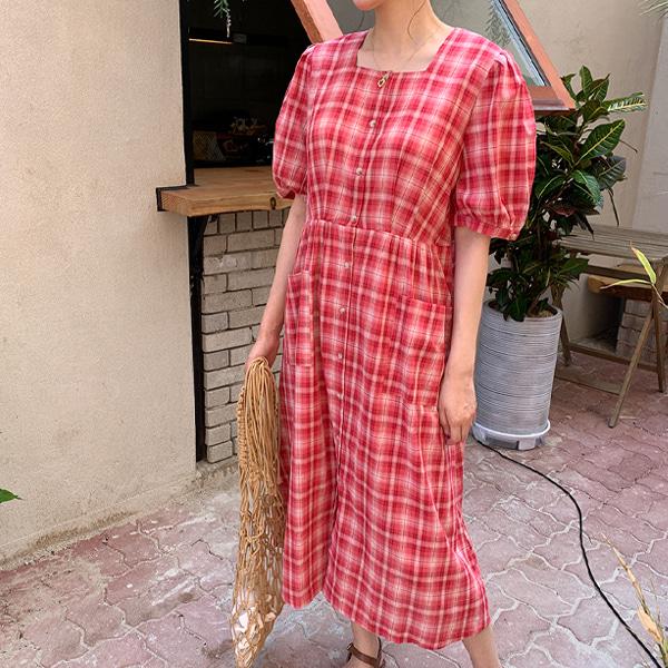鄰家氣質格紋方領泡泡袖洋裝(附綁帶)