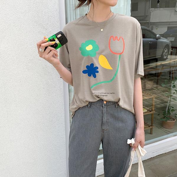 蠟筆感圖案寬鬆短袖T恤