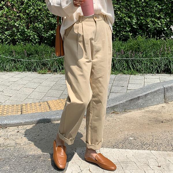 壓褶高腰修身棉質西裝褲