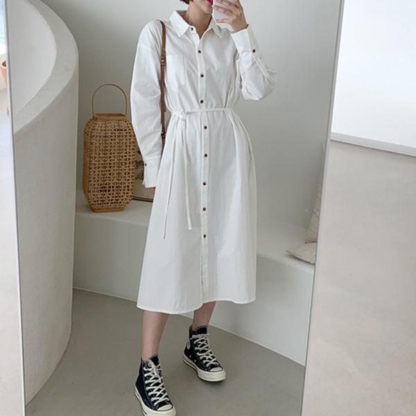 知性純色開衩襬襯衫洋裝(附綁帶)