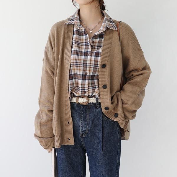 秋氛口袋排釦V領針織外套