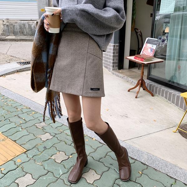 人字紋縫線高腰A字短裙