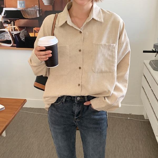 燈芯絨雙口袋寬鬆襯衫