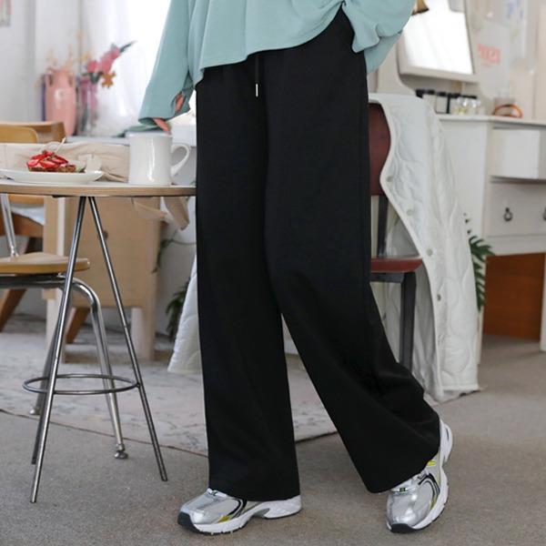 抽繩裝飾腰鬆緊素色寬褲