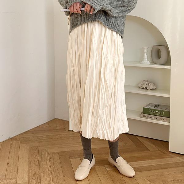 仿麂皮皺褶感腰鬆緊長裙