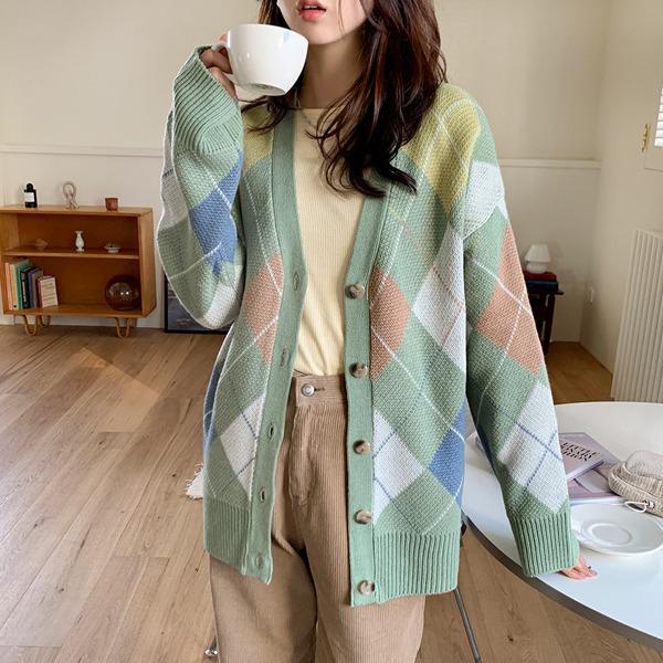 柔彩菱格紋V領針織外套