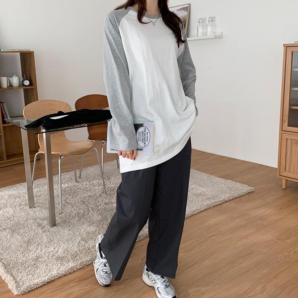 配色拉克蘭袖寬鬆長版T恤