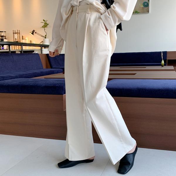 壓褶燙線單釦寬管西裝褲