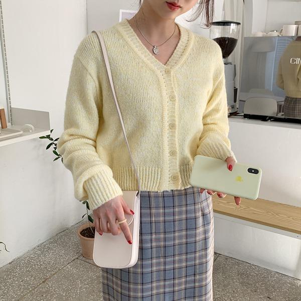 柔彩混色V領短版針織外套