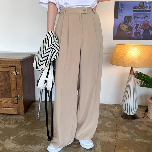 雙釦壓褶素色寬管西裝褲