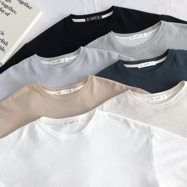百搭款圓領內縫線短袖T恤