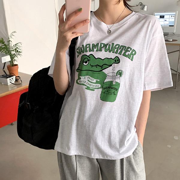 鱷魚圖案圓領短袖T恤