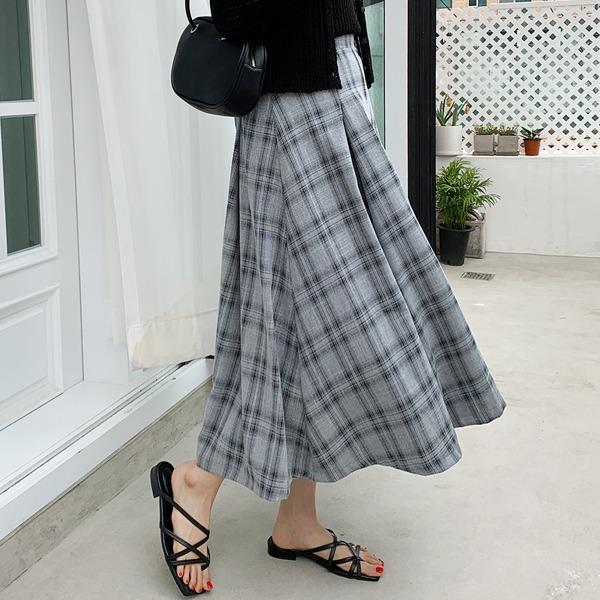 格紋壓褶荷葉襬後鬆緊長裙