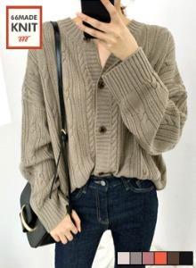 輕甜麻花紋圓領針織外套