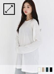 輕暖磨毛圓領純色長版T恤
