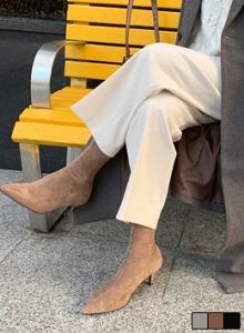 緊身麂皮緊身中跟短靴