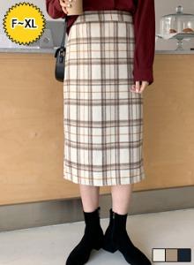 氣質格紋後鬆緊開衩襬長裙