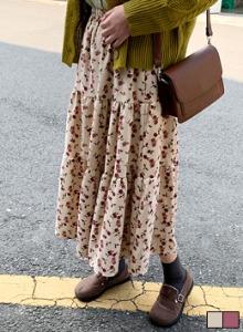 復古風玫瑰燈芯絨層次襬長裙