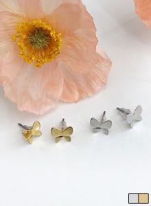 迷你蝴蝶造型光澤耳環