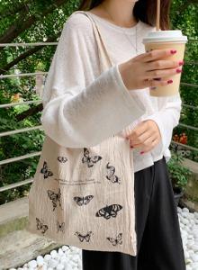 蝴蝶印花雙層純棉環保袋
