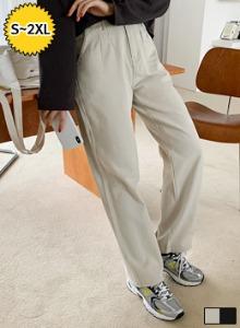 單釦壓褶多口袋直筒長褲