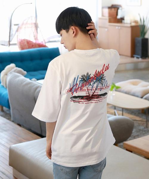 하와이안 프린팅 반팔 티셔츠