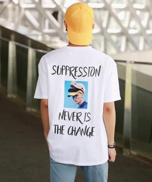 백 프린팅 전사 반팔 티셔츠