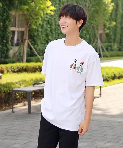 남여 프린팅 반팔 티셔츠