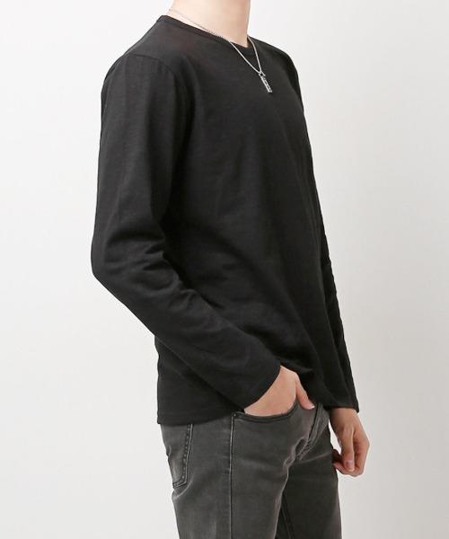남자 슬라브 무지 긴팔 티셔츠