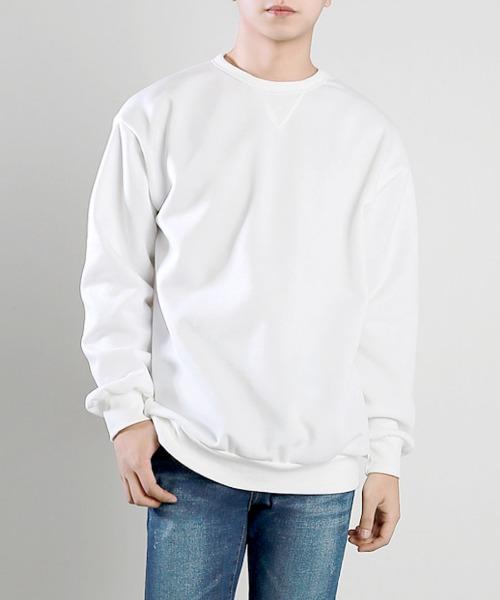 데일리 삼각 기모 맨투맨 티셔츠