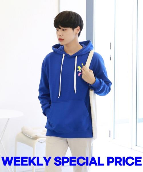 [한정특가] 페인팅 나염 후드 티셔츠 - 블루