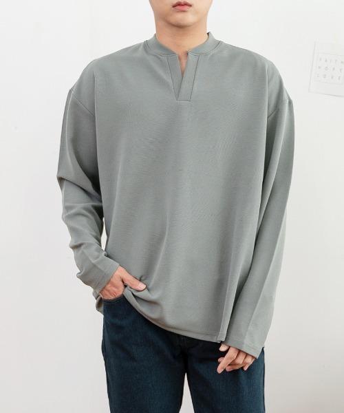 브이 헨리넥 긴팔 티셔츠