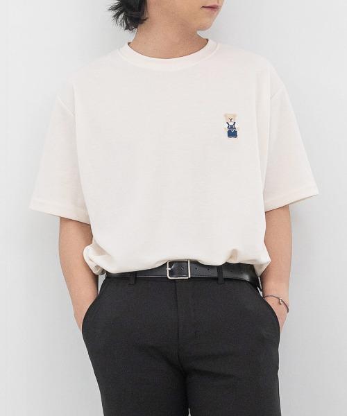 멜린 곰돌이 자수 반팔 티셔츠