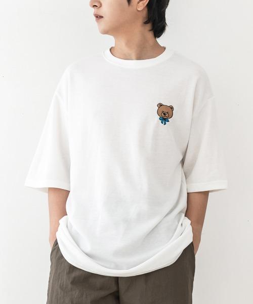 자수 베어 반팔 티셔츠