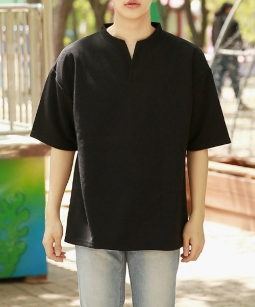 구김없는 브이넥 반팔 티셔츠