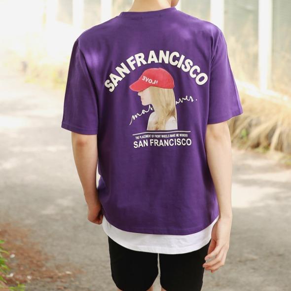 FitUs|キャッププリント半袖Tシャツ
